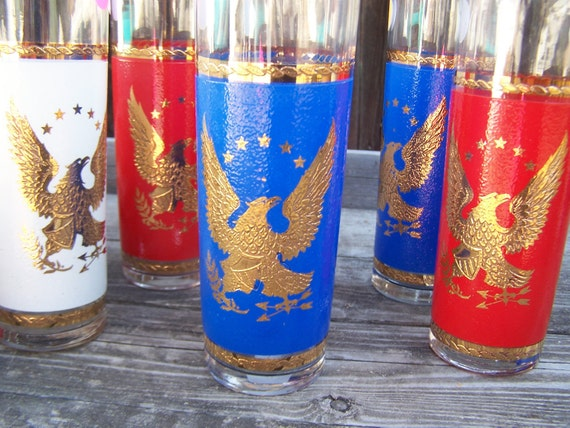 Vintage Glasses,Red White Blue Glassware Americana Golden Eagle Libbey Ice Tea Glasses Complete Set
