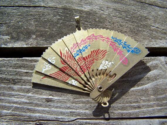 Vintage Jewelry Lot of Three Pendants ,Enameled Japanese Pendants Lot of 3 Detash,