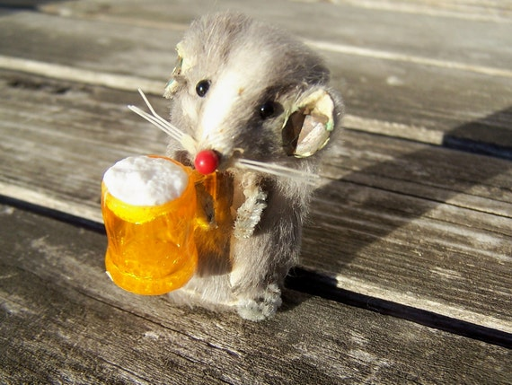 Vintage Toy  Original Fur Toy Made in West Germany , Beer Drinking Mouse on sale was 24.00