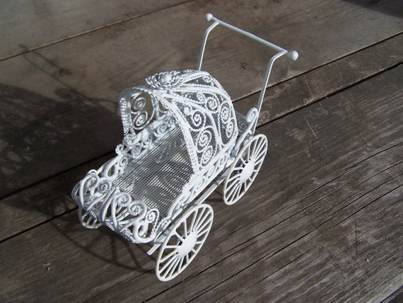 White Metal Doll Pram 1980