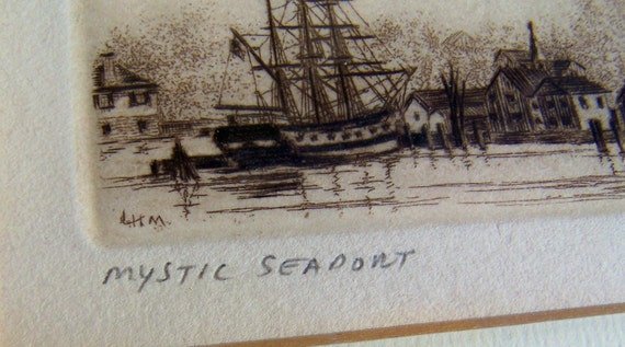 Mystic Seaport Etching by Leonard Mersky Signed Limited Edition  193/400