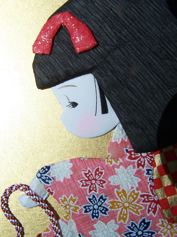 MOVING SALE Vintage Home Decor Japanese Paper Art, Wall Hanging Little Girl in a Kimono Yuzen Washi Doll