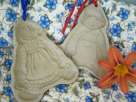Vintage Cookie Molds, Raggedy Ann and Andy Retired Brown Bag Cookie Art Molds Hill Designs Inc, on sale was 22.50