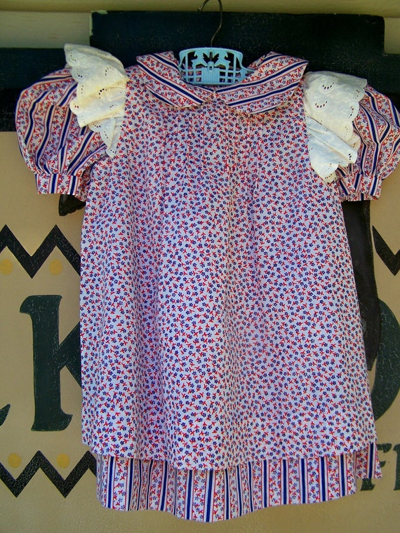 Vintage Little Girls Cotton Double Dress Handmade 1960s
