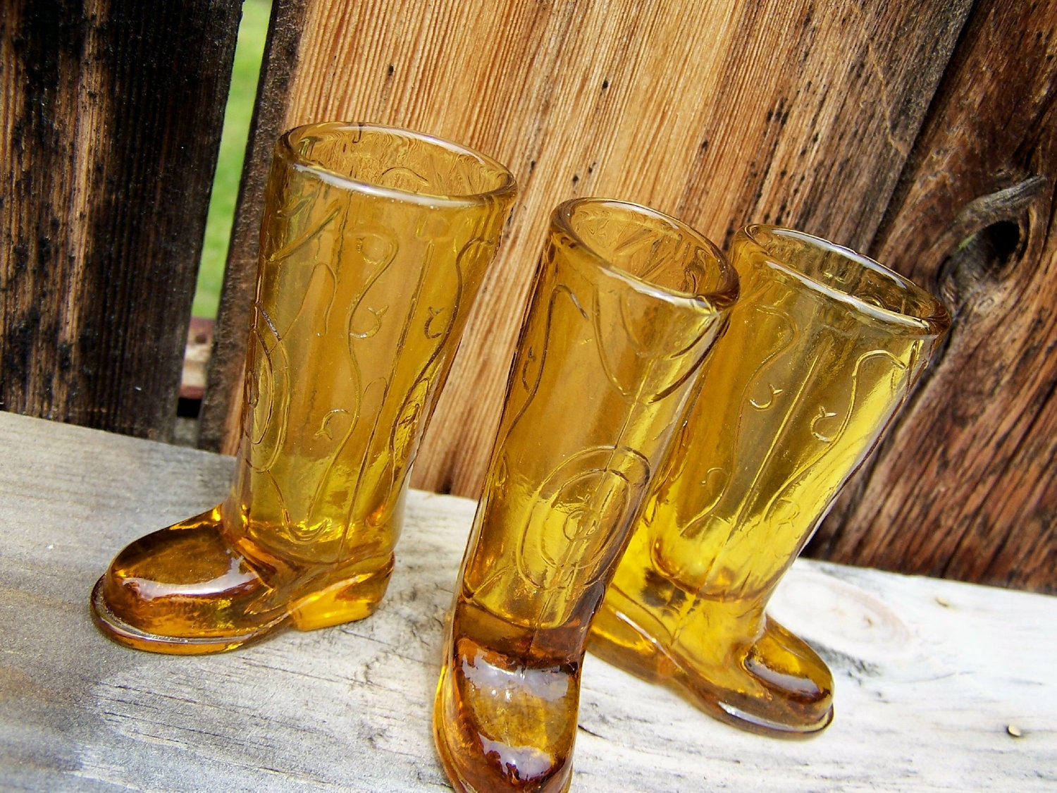 Shot Glasses Amber Glass Cowboy Boot You Will Get All 3