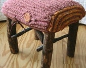 Twig stool with faux bois slipcover