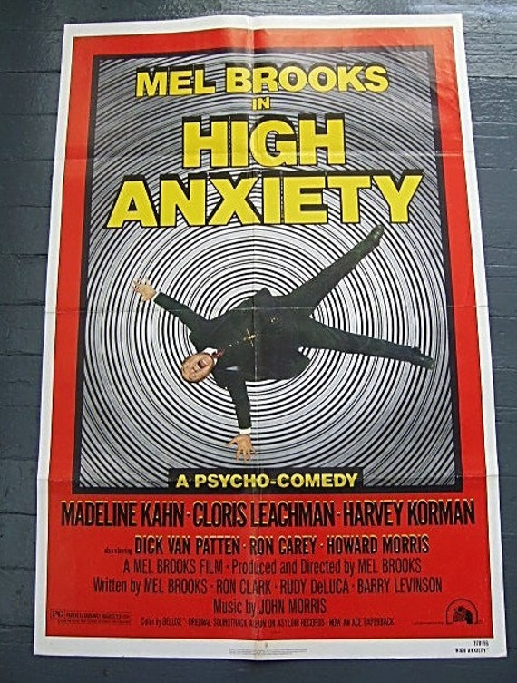 High Anxiety Original Movie Theater Poster Full Size One Sheet 1977 Mel Brooks Psycho-Comedy Folded Bold Graphics Spiral Vortex Huge 41 x 27