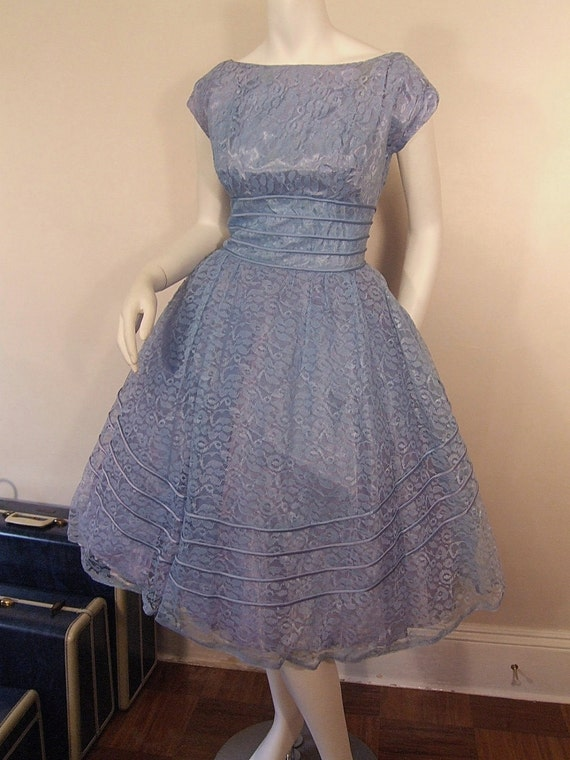 Once In A Blue Lace Vintage 50's Party Dress Full Skirt Fitted Waist Wedding Formal S M
