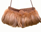 The Feather Evening Bag in Latte
