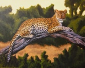 leopard art - Panthera Pardus In Acrylic On Canvas - original 16 by 20 acrylic painting on canvas