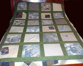 Memory Tee Shirt Quilt made with Grandfathers Shirts or Clothing