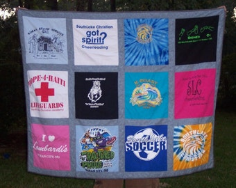 Think Graduation Day Custom Memory Tshirt Quilt with your own Tshirts