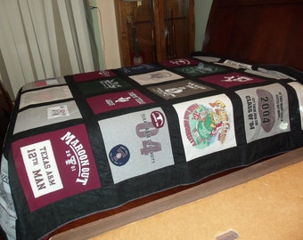 Custom College Campus Queen Size Tshirt Memory Quilt made with your own 30 Tee Shirts