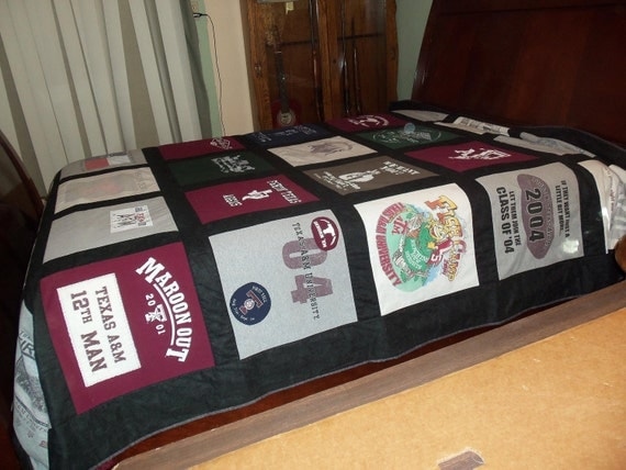 Custom College Campus Queen Size Tshirt Memory Quilt Made With