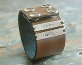 Mama Cuff - Leather Cuff with Custom Sterling Tags