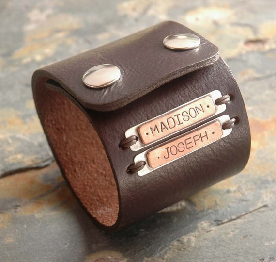 Cool Daddy-o - an industiral leather cuff with customized hand stamped names / words of your choice