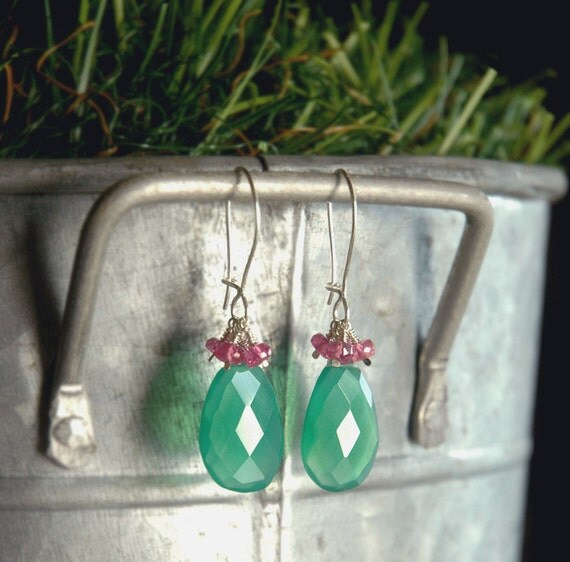 Green Onyx and Pink Sapphire Earrings