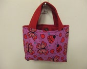 Little Girls Lady Bug Purse Tote Handbag Magnetic Snap Closure Hearts  Ready Made Ready to Ship