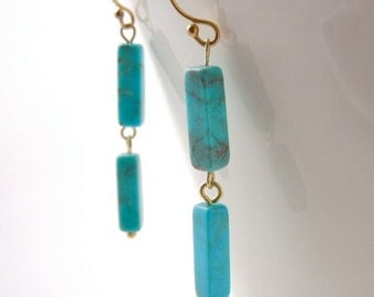 Gold Turquoise Linear Earrings