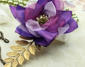 Ophelia - Elegant Flower Necklace in Chartreuse Green & Purple - Ready to Ship - Handmade - by VividColors