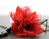 Fire Orchid - Romantic  Turquoise & Red Flowers Necklace - Ready to Ship - Handmade - VividColors