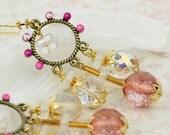 Flirty Rhinestone Chandelier Earrings in Fuchsia & Pink - Ready to Ship - Handmade - by VividColors