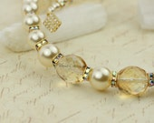 Pure Luxury - Elegant  Necklace in Ivory White & Champagne with Pearls and Crystal Rhinestone - Ready to Ship - Handmade - by VividColors