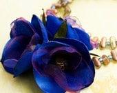 Flirty Purple and Indigo Blue Organza & Satin Flower Handmade Necklace