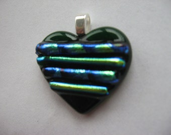 Green Heart Pendant- Valentine's Day fused glass jewelry