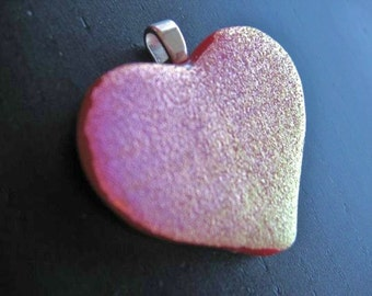 Valentine's Day pink heart pendant - Love Forever dichroic fused glass pendant romantic gift neon jewelry valentines day