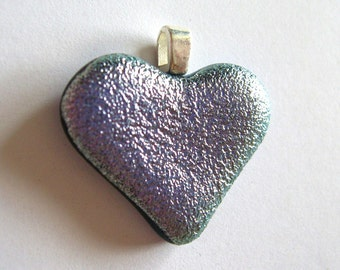 Lavender glass heart pendant- dichroic fused glass jewelry Valentine's Day