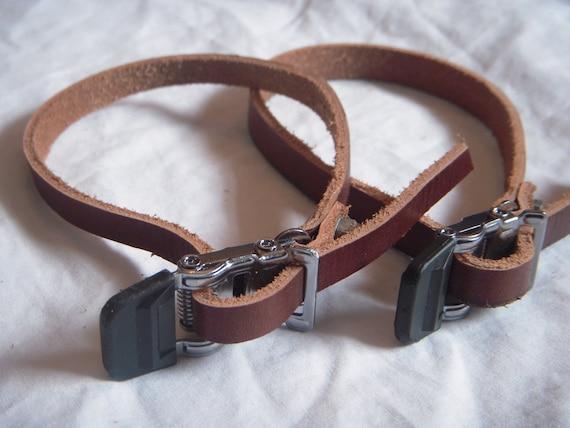 Leather Toe Strap Set Antique Brown
