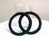 Huge Crochet Hoop Earrings - Black