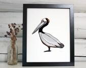 Pelican Art. Giclee print. Bird illustration