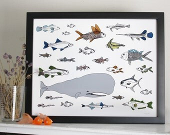 Ocean Art - Whale and Fish print - Under the Sea Illustration Giclee print