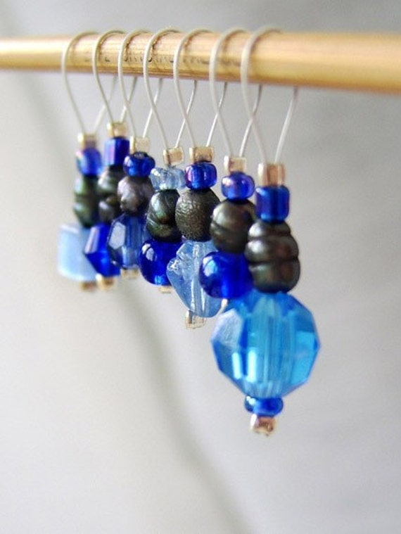 SALE - Lady in Satin - Seven Snag Free Stitch Markers - Fits Up To 4.0 mm (6 US)