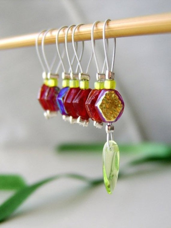 LAST SET Sale - As Fierce As The Forest -  Seven Snag Free Stitch Markers - Fits Up To 5.5 mm (9 US) - Limited Edition