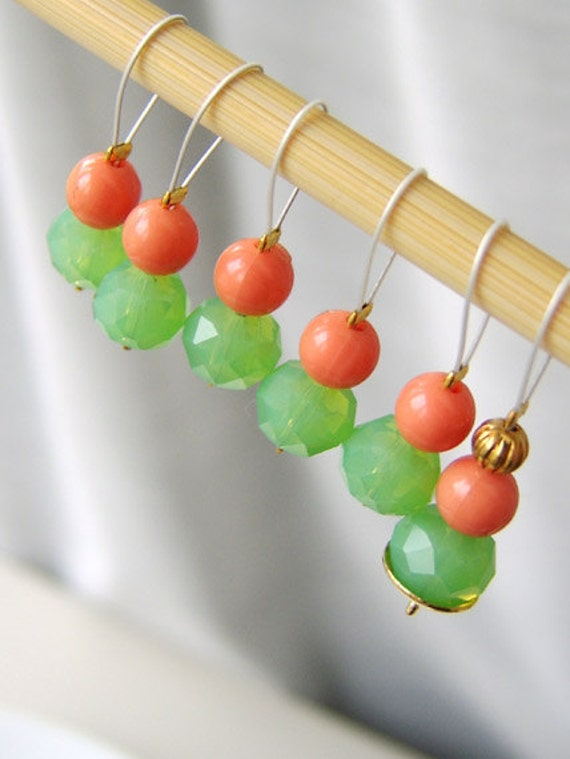 SALE - Southern Mint Julep - Six Snag Free Stitch Markers - Fits Up To 5.5 mm (9 US) - Limited Edition