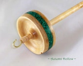 Drop Spindle in Malachite and Curly Maple by Autumn Hollow Farm
