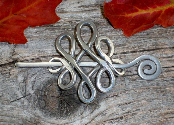 Aluminum Celtic Tear Drop Shawl Pin or Barrette by Autumn Hollow