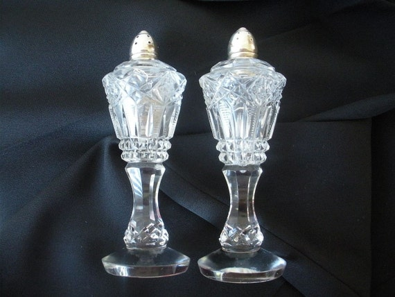 Vintage Crystal Salt and Pepper Shakers with Sterling Silver caps