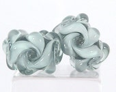 Artisan Lampwork Glass EARRING PAIR- Lt Grey Floral Bead Set -  Sharpline Designs SRA