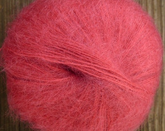 mohair and acrylc lace weight yarn, rose, 165 yards, 1.4 oz.