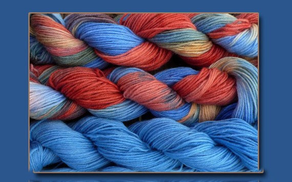 Pure wool sock yarn, sport weight --- blue red and yellow