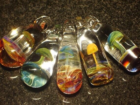 Wholesale 25 Glass Mushroom Pendants