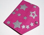 Bubblegum and Metallic Silver Space Cadet Business Card Envelope Clutch (All Hand Dyed and Hand Embellished Fabric)