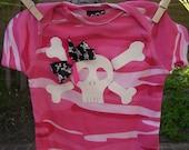 Baby Girl Camo Skull and Crossbones onesie - hand screen print