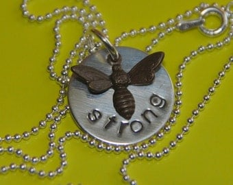 BEE STRONG Hand Stamped Sterling Silver Pendant and Antiqued Brass Bee Charm Pendant