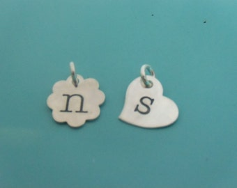 GET PERSONAL Hand Stamped Single Initial Heart or Scalloped Pendant