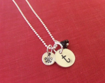 GET PERSONAL Hand Stamped Sterling Silver Initial Pendant Necklace